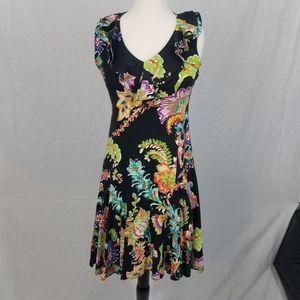 Lauren Ralph Lauren Black Tropical v neck dress
